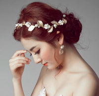 Golden leaves for Wedding Accessories (hairband and earring)
