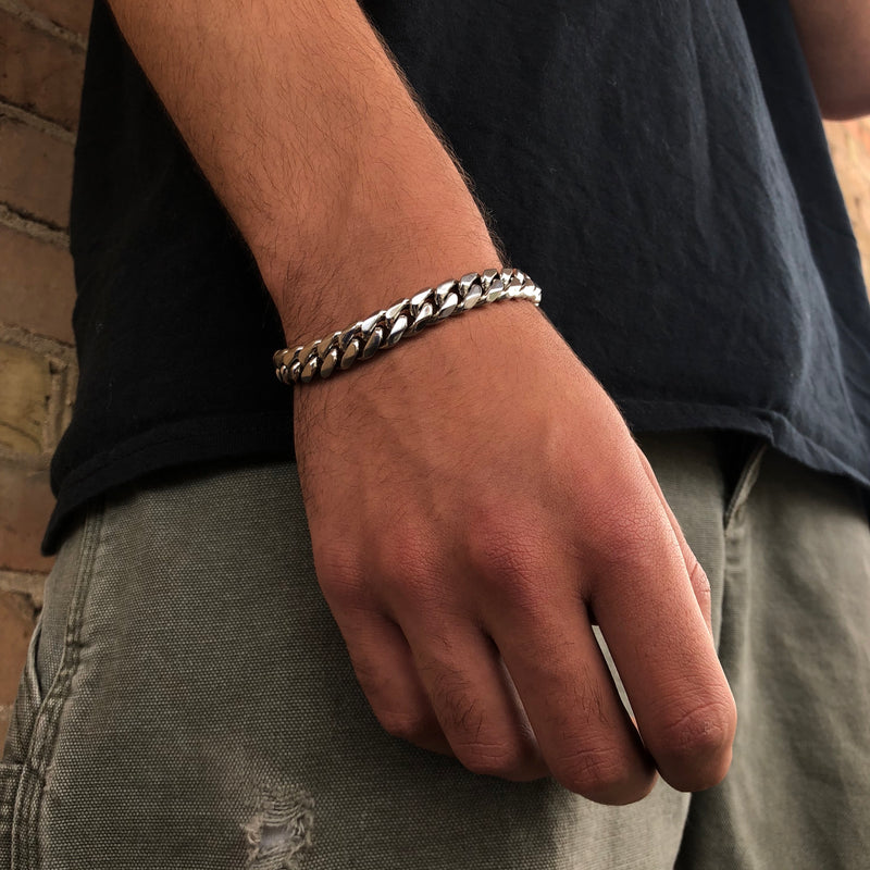 "HJ STAINLESS STEEL CUBAN 7-8""BRACELET"