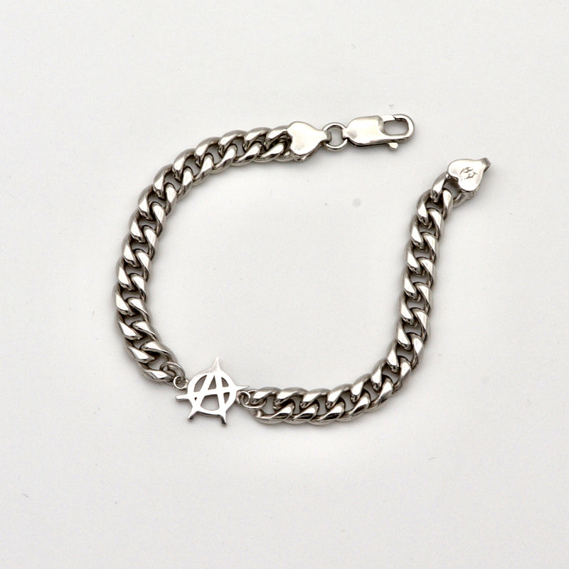 HJ SILVER ANARCHY CUBAN BRACELET 7-8 INCHES