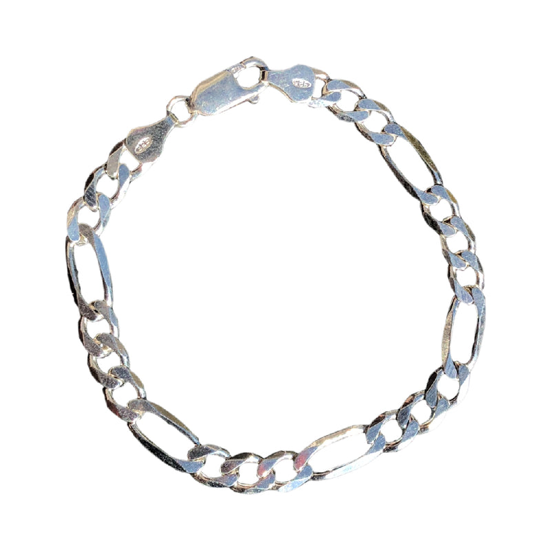 "HJ SOLID .925 SILVER ""FIGARO"" STYLE CHAIN BRACELET"