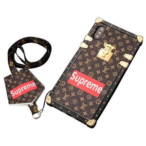 LV x Supreme Iconic Brown Monogram Trunk Case - Tomoris
