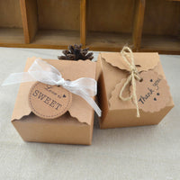 50pcs Paper Box with Ribbons and Tags Vintage Rustic Party