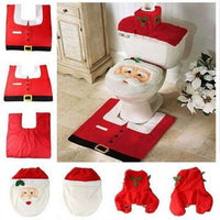 Santa Toilet Seat Cover and Rug Bathroom Set Contour Rug Christmas Decorations