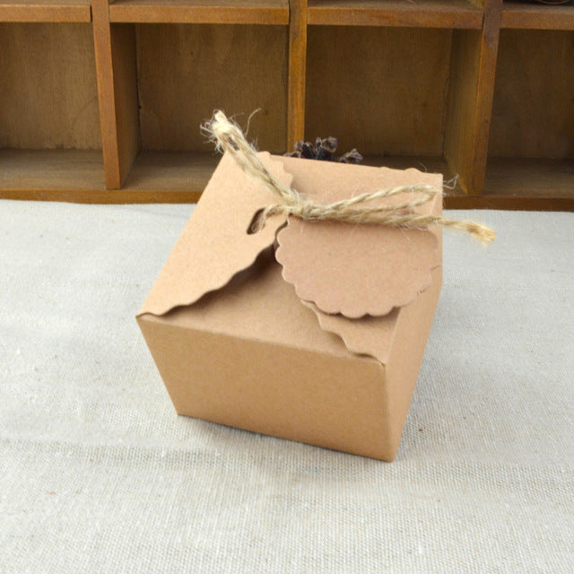50pcs Paper Box with Twine and Tags Vintage Rustic Party