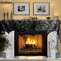 Fireplace Mantle Scarf Cover 243cm Black Lace Spiderweb Table Cloth for Halloween Decoration