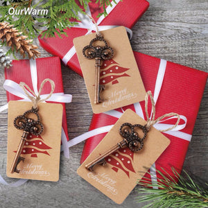 50 set Bottle Opener + Santa Gift Tags Christmas Pendant