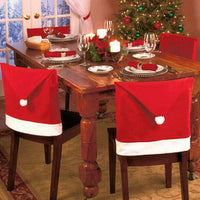 4Pcs Christmas Chair Cover Christmas Decorations For Home Santa Claus Large Hat