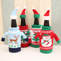 Knitted Sweater Red Christmas Wine Bottle Sets Deer / Tree / JOY / Snowman Christmas Table Decorations
