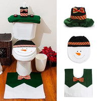 Happy Snowman Toilet Seat Cover & Rug Bathroom Set Christmas Decorations