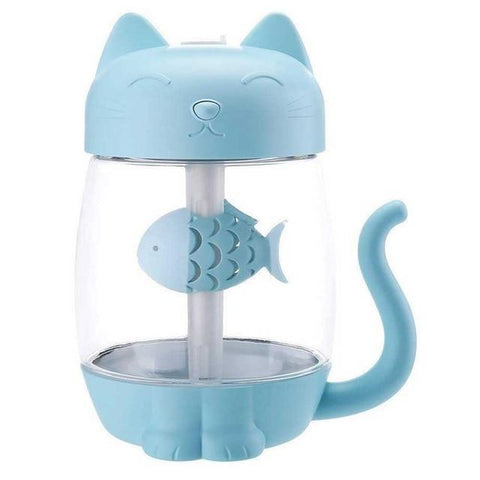 Image of 3 in 1 Cat Shaped Ultrasonic Mini Humidifier With LED Ligh & USB Fan Blue