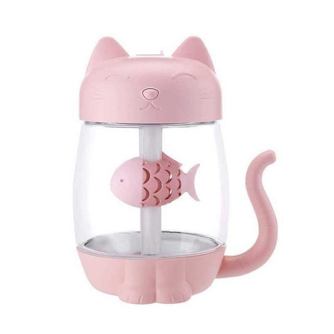 Image of 3 in 1 Cat Shaped Ultrasonic Mini Humidifier With LED Ligh & USB Fan Pink