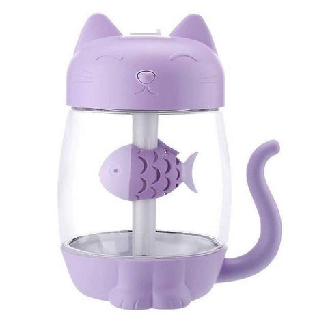 Image of 3 in 1 Cat Shaped Ultrasonic Mini Humidifier With LED Ligh & USB Fan Purple