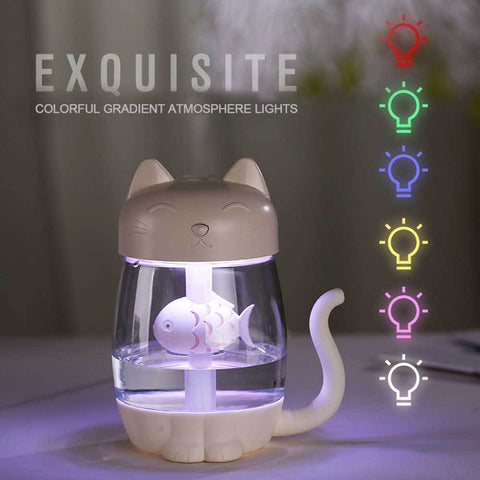 3 in 1 Cat Shaped Ultrasonic Mini Humidifier With LED Ligh & USB Fan WHITE