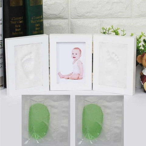 Image of 3D Newborns Molds Baby Handprint Footprint Photo Frame with Soft Clay Inkpad PJ3350G