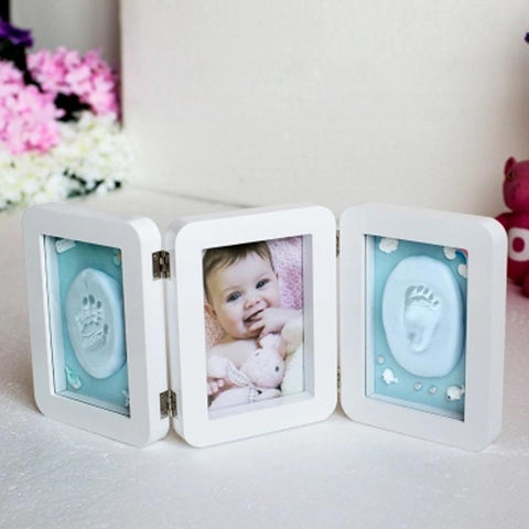 3D Newborns Molds Baby Handprint Footprint Photo Frame with Soft Clay Inkpad PJ3350W