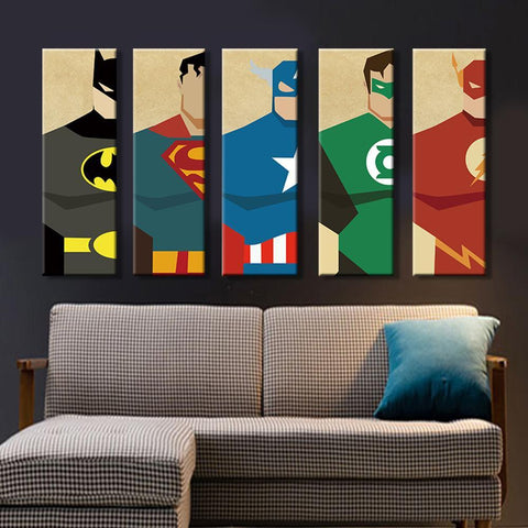 Image of 5 Pieces Superhero Modern Home Wall Decor Canvas Art HD Print -Without frame joeypatch