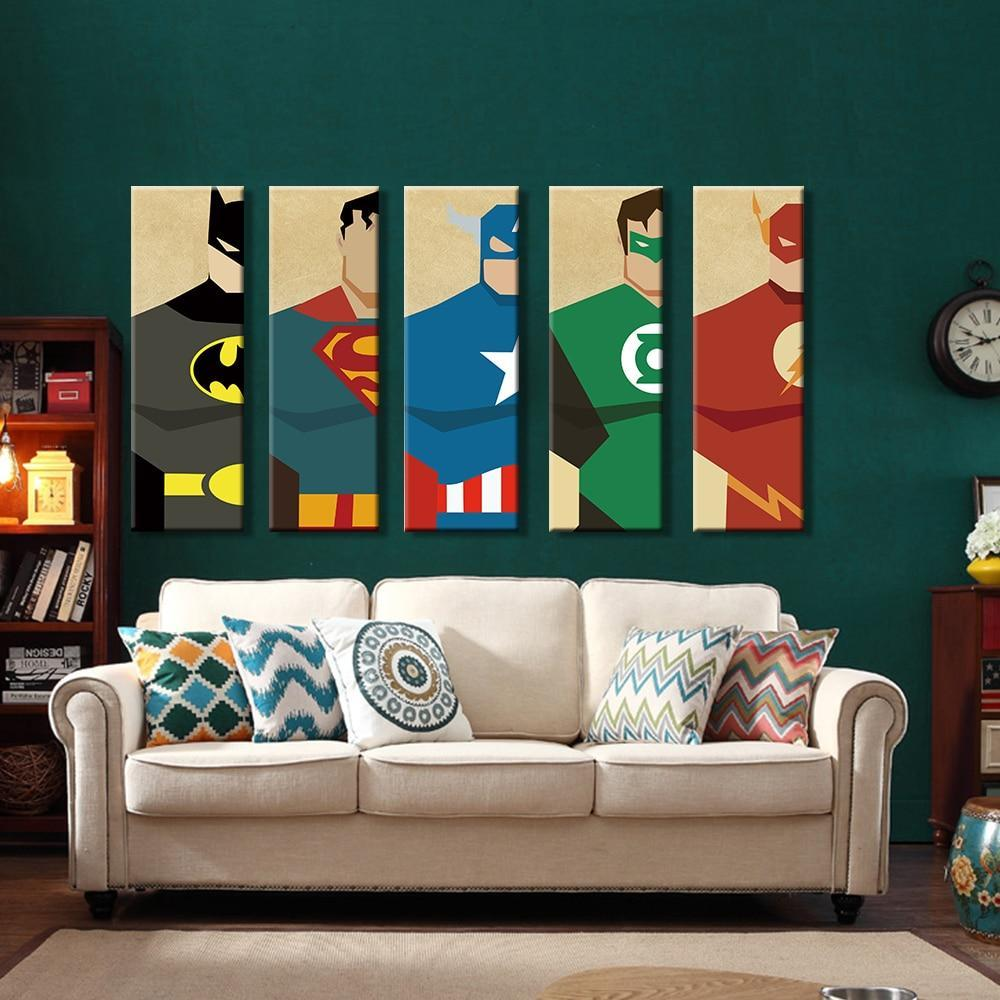5 Pieces Superhero Modern Home Wall Decor Canvas Art HD Print Without Frame Joeypatch Tap To Expand
