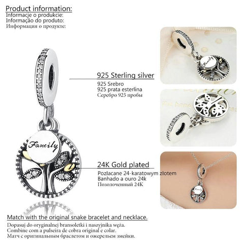 925 Sterling Silver Berloque Family Tree of Life Shoe Charms Pendant Deijes Beads fit Charm Bracelet Original Jewelry Making GXC440