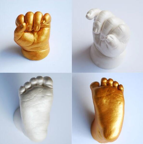 Baby 3D Hand & Foot Print Mold Casting Kit baby Growth Memorial peal white