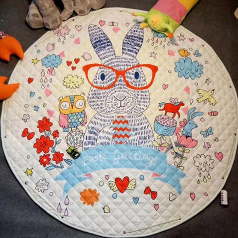 Image of Baby Playing Floor Blanket Mat Come Kids Toy Storage Basket 10