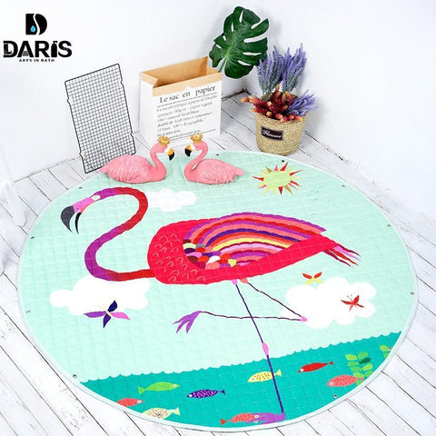 Image of Baby Playing Floor Blanket Mat Come Kids Toy Storage Basket 12