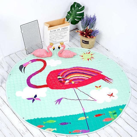 Image of Baby Playing Floor Blanket Mat Come Kids Toy Storage Basket 14