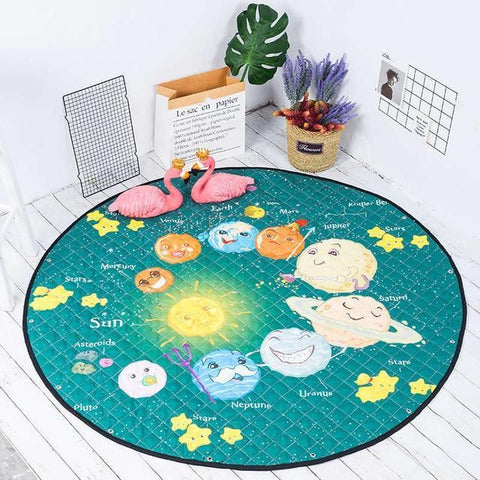 Image of Baby Playing Floor Blanket Mat Come Kids Toy Storage Basket 15