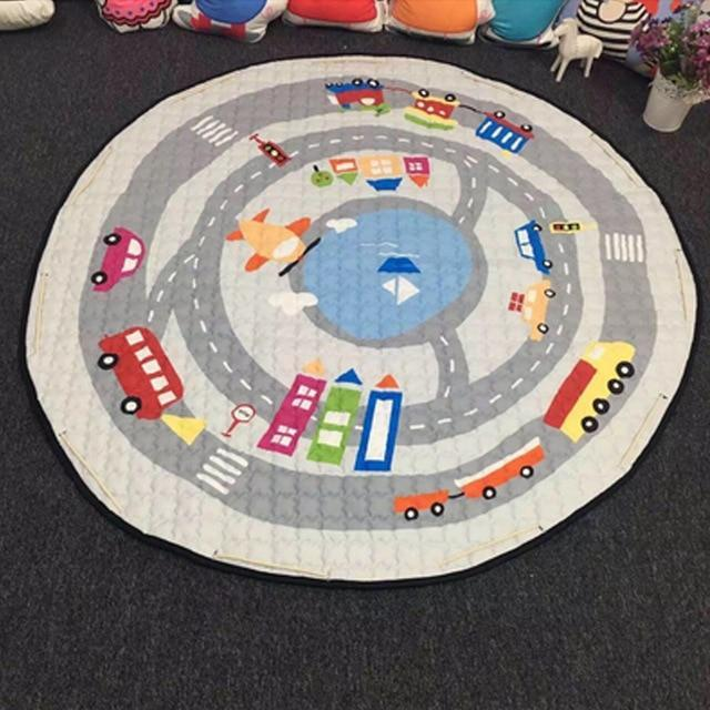 Baby Playing Floor Blanket Mat Come Kids Toy Storage Basket 5