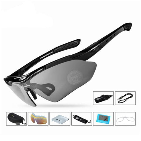 Image of Bicycle Riding Protection Sports Goggles With 5 Lens Cycling Eyewear Black ROCKBROS Official Store