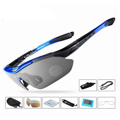 Image of Bicycle Riding Protection Sports Goggles With 5 Lens Cycling Eyewear Blue ROCKBROS Official Store