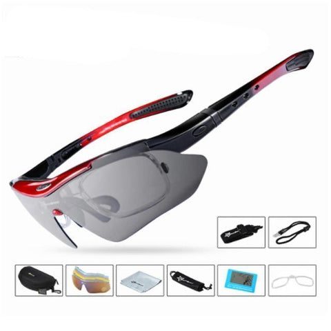 Image of Bicycle Riding Protection Sports Goggles With 5 Lens Cycling Eyewear Red ROCKBROS Official Store