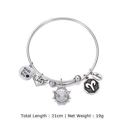 Image of Birthstone Twelve Constellations Fine Bangles April / Silver e-Manco Official Store