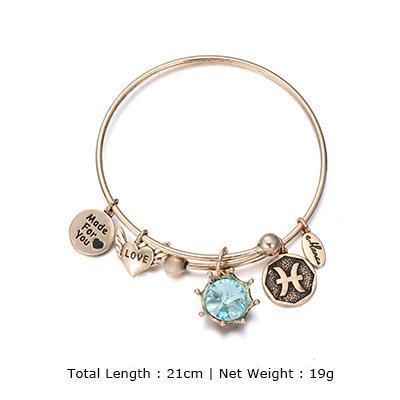 Birthstone Twelve Constellations Fine Bangles March / Silver e-Manco Official Store