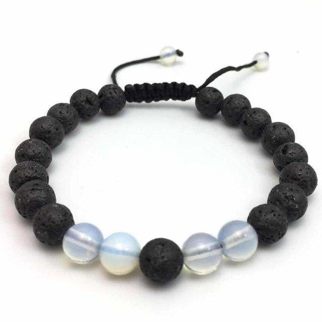 Black Lave Stone Northskull adjustable Bracelets For Men Strand Bracelets 2 / 17cm ZHONGWANG GVUSMIL Store