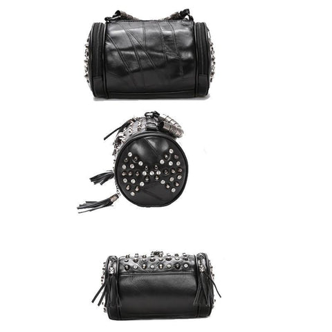 Image of Black Rock Rivets Patchwork Leather  Skull Purse, Color - A