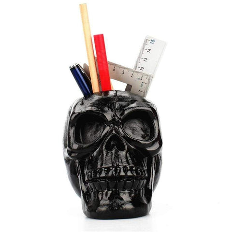 Image of Black Skull Head Figurine Skeleton Ornament Stationery Holder Makeup Storage Container Jewellery Box Office Home Decoration