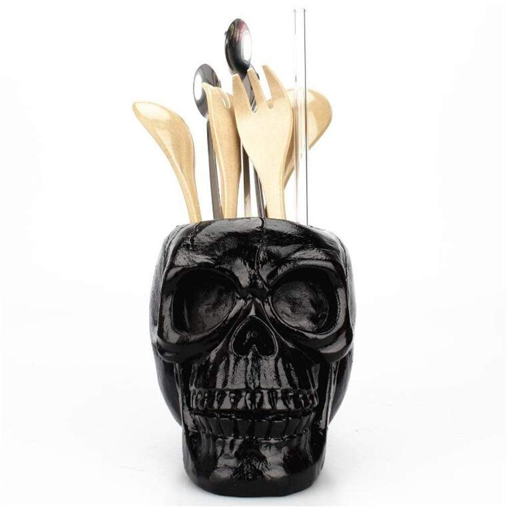 Black Skull Head Figurine Skeleton Ornament Stationery Holder Makeup Storage Container Jewellery Box Office Home Decoration