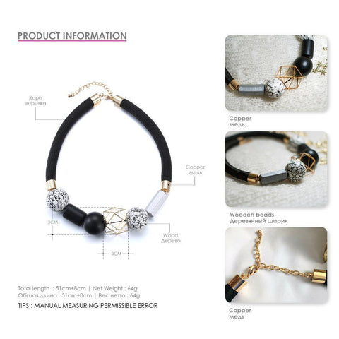 Black & White Wood Beads Minimalist Chokers Necklaces Choker Necklaces e-Manco Official Store
