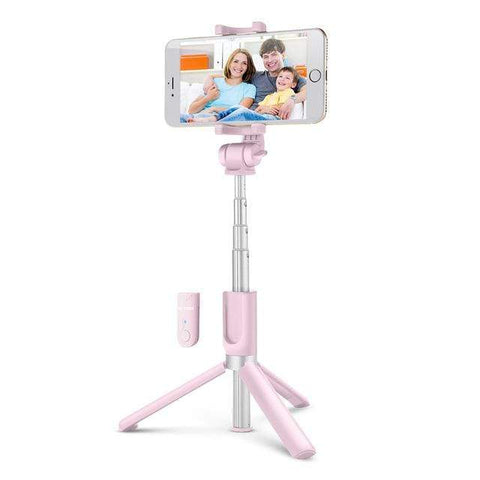 Bluetooth Selfie Stick With Extendable Tripod Pink