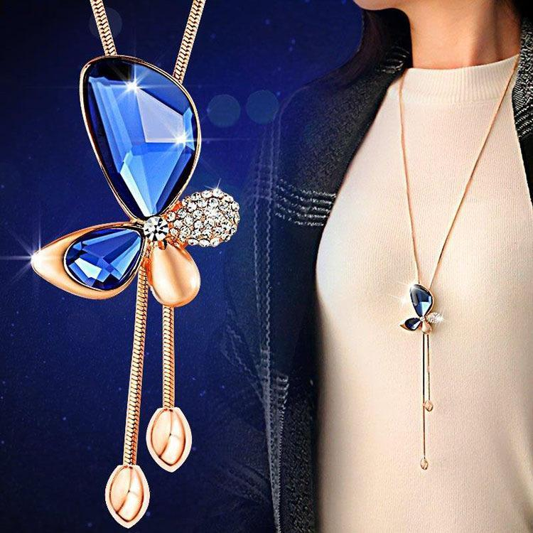 Classic Crystal Butterfly Tassel Long Necklace Pendant Necklaces Xton Store