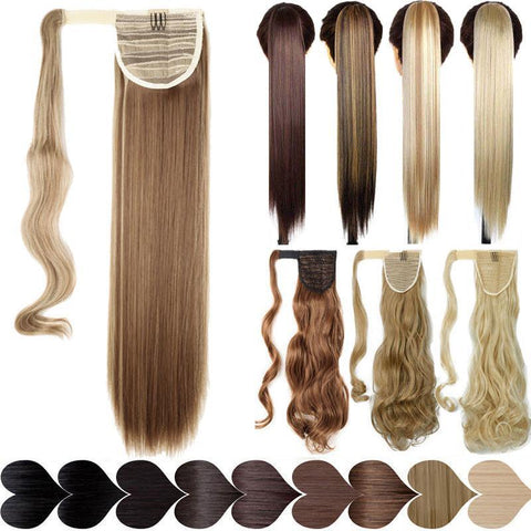 Clip In Synthetic Wrap Around Pony Tail Hair Extension Dark Black / Wavy