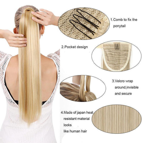 Image of Clip In Synthetic Wrap Around Pony Tail Hair Extension For Women 1 / Wavy