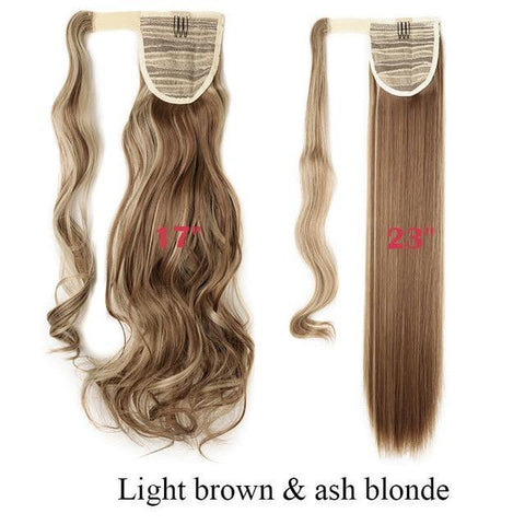 Clip In Synthetic Wrap Around Pony Tail Hair Extension For Women 12P24 / Wavy