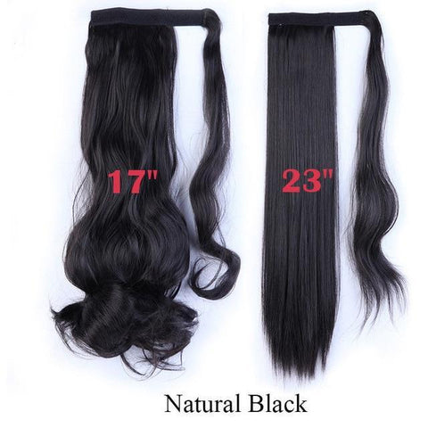 Image of Clip In Synthetic Wrap Around Pony Tail Hair Extension For Women 1B / Wavy