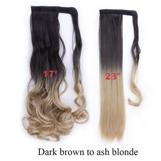 Clip In Synthetic Wrap Around Pony Tail Hair Extension For Women 4H24 / Wavy