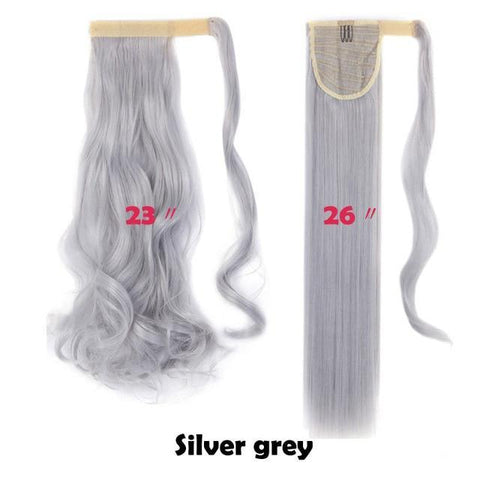 Image of Clip In Synthetic Wrap Around Pony Tail Hair Extension For Women silver grey / Wavy