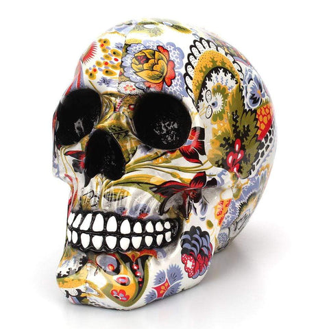 Creative Colorful pattern skull ornaments Resin Halloween Horror Modern Skull Statue Personality Home Decoration 301-0728