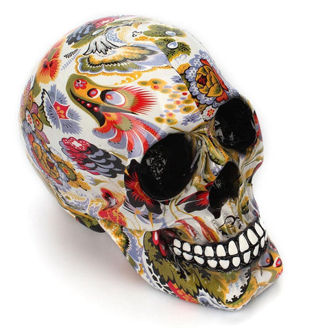 Image of Creative Colorful pattern skull ornaments Resin Halloween Horror Modern Skull Statue Personality Home Decoration 301-0728