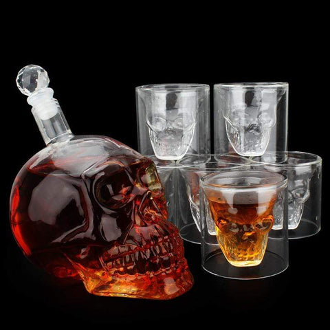 Image of Creative Gothic Wine Vodka Decanter Skull Head Bottles Wine set inclund 1PCS 1000ml wine jug and 6PCS 75ml wine glasses