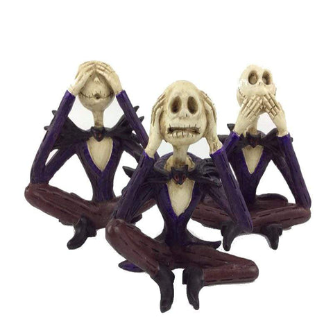 Image of Creative Sitting Skull Statues Shut Up Figurine Home Office Desk Decor Halloween Party Scary Ornament Decoration Statue A (Do Not Talk)